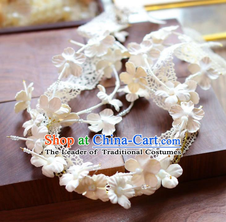 Handmade Classical Wedding Hair Accessories Bride White Flowers Hair Clasp Headband for Women