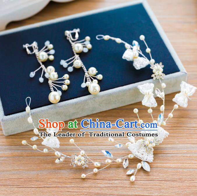 Handmade Classical Wedding Hair Accessories Bride Bowknot Hair Clasp Headband for Women