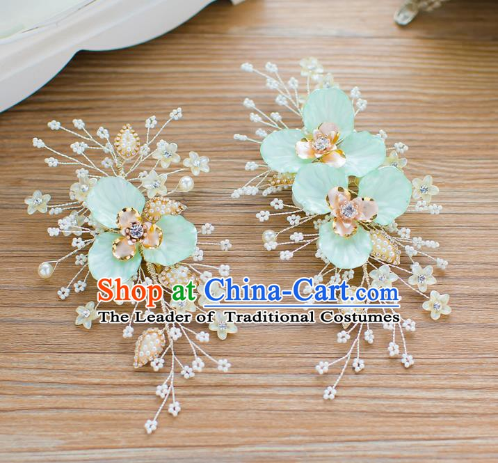 Handmade Classical Wedding Hair Accessories Bride Blue Flowers Hair Stick Headband for Women