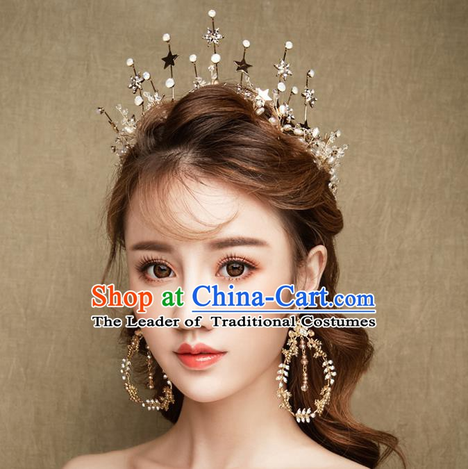 Handmade Classical Wedding Accessories Bride Stars Hair Clasp and Tassel Earrings for Women