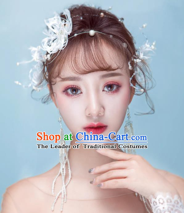 Handmade Classical Wedding Hair Accessories Bride Feather Hair Clasp Headband for Women