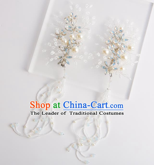 Handmade Classical Wedding Accessories Bride Pearls Tassel Earrings for Women