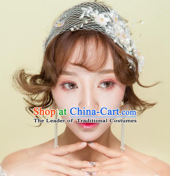 Handmade Classical Wedding Hair Accessories Bride Pearls Veil Hair Clasp Headband for Women