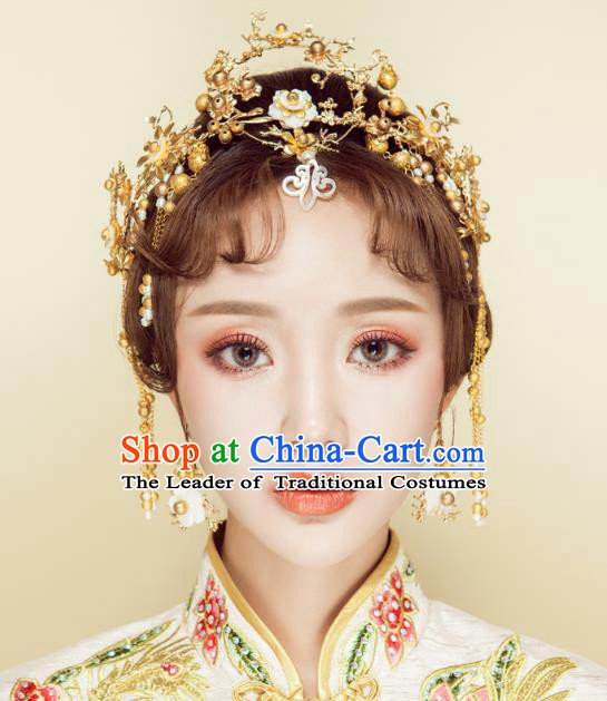 Chinese Handmade Classical Wedding Hair Accessories Ancient Xiuhe Suits Golden Phoenix Coronet Hairpins for Women