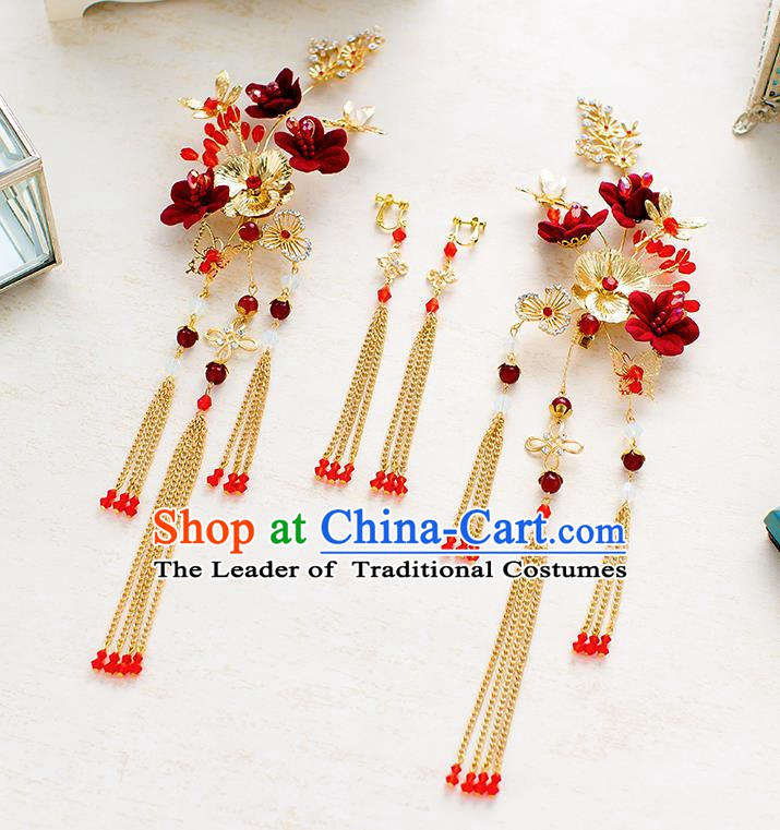 Handmade Classical Wedding Accessories Bride Hair Stick and Tassel Earrings for Women