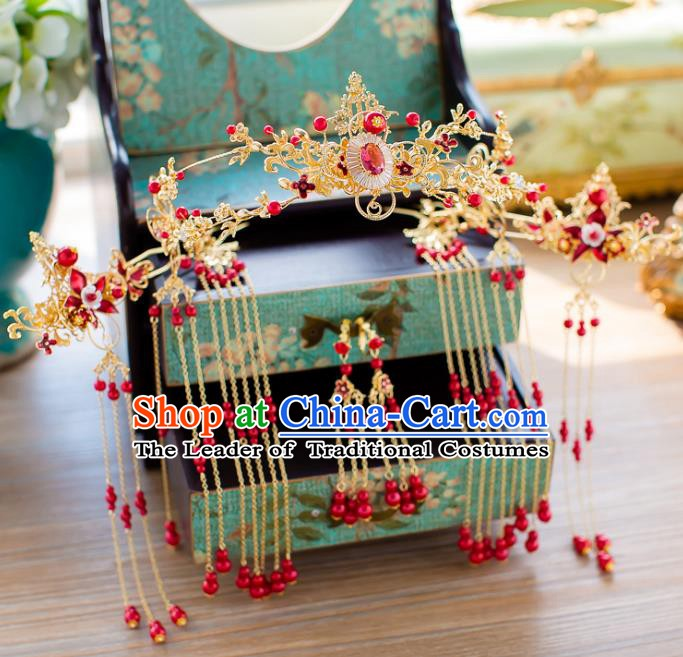 Chinese Handmade Classical Wedding Hair Accessories Ancient Golden Phoenix Coronet Hairpins Headdress for Women