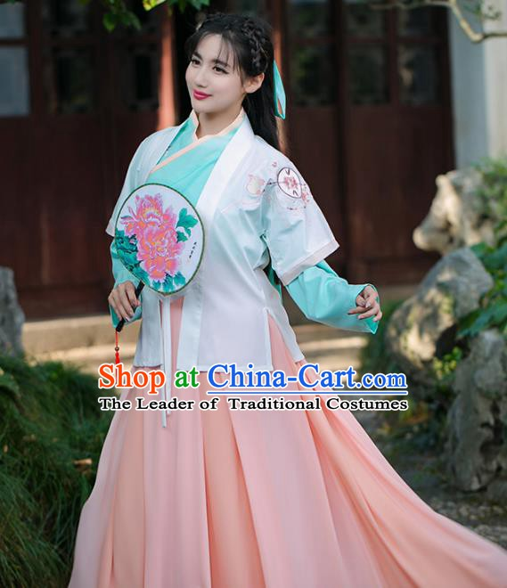 Traditional Chinese Song Dynasty Palace Lady Embroidered Costume, China Ancient Princess Dress for Women
