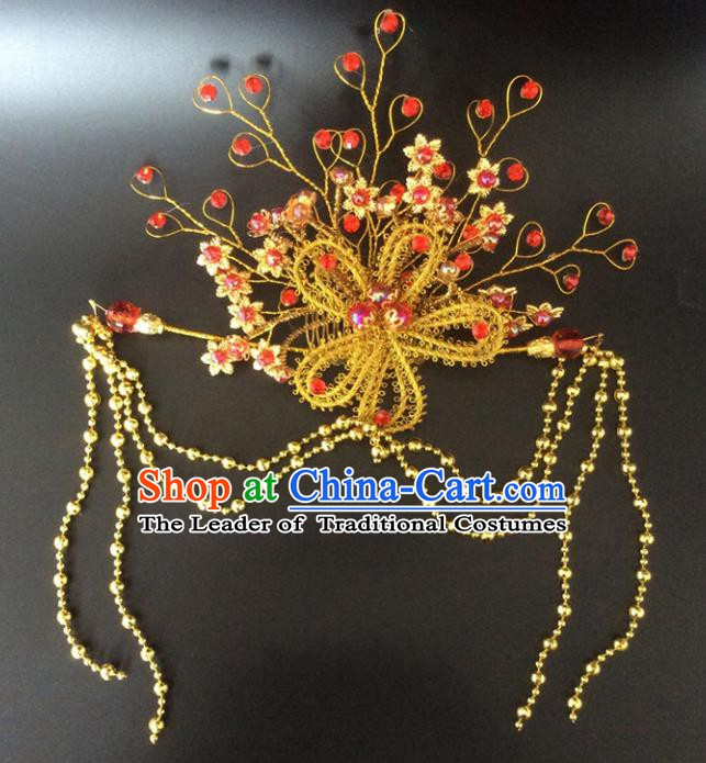 Chinese Handmade Classical Wedding Hair Accessories Ancient Tassel Hairpins Headwear for Women