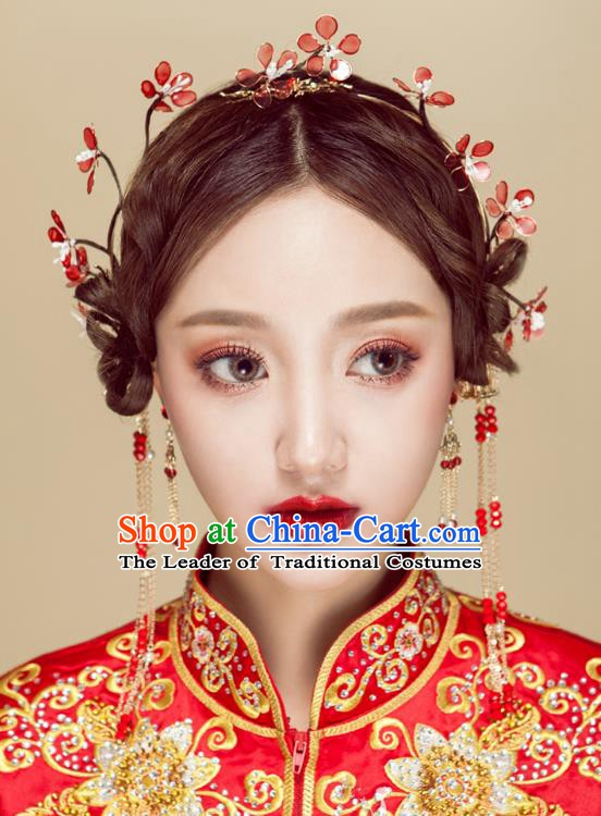 Chinese Handmade Classical Wedding Hair Accessories Ancient Wintersweet Hair Clasp Hairpins Headdress for Women