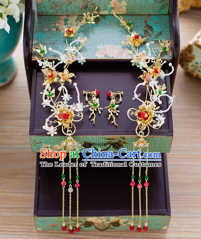 Chinese Handmade Classical Wedding Hair Accessories Ancient Hair Clasp Hairpins Headdress for Women