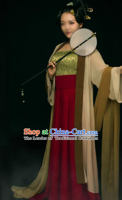 Traditional Chinese Ancient Imperial Concubine Costume, China Tang Dynasty Palace Lady Clothing for Women