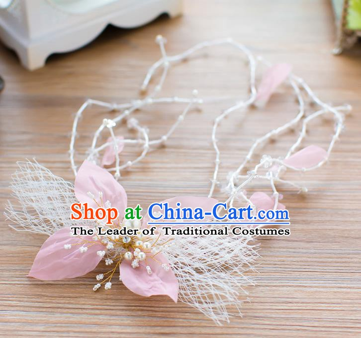 Handmade Classical Wedding Hair Accessories Bride Pink Flower Hair Stick Headband for Women