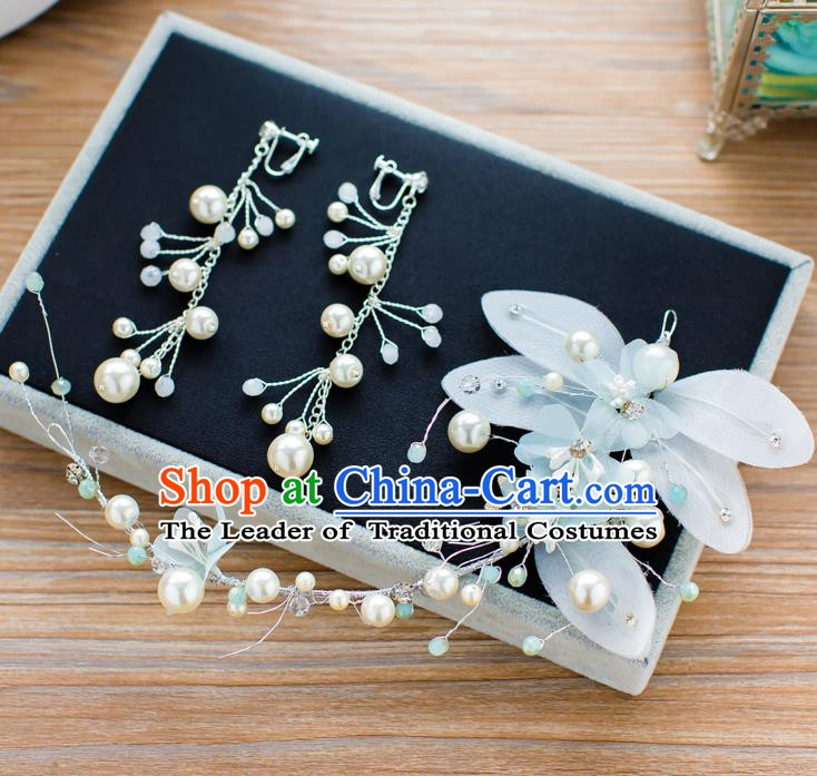 Handmade Classical Wedding Hair Accessories Bride Blue Flower Hair Clasp Headband for Women