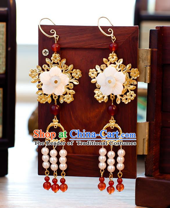 Handmade Classical Wedding Accessories Bride Ear Pendant Beads Tassel Earrings for Women
