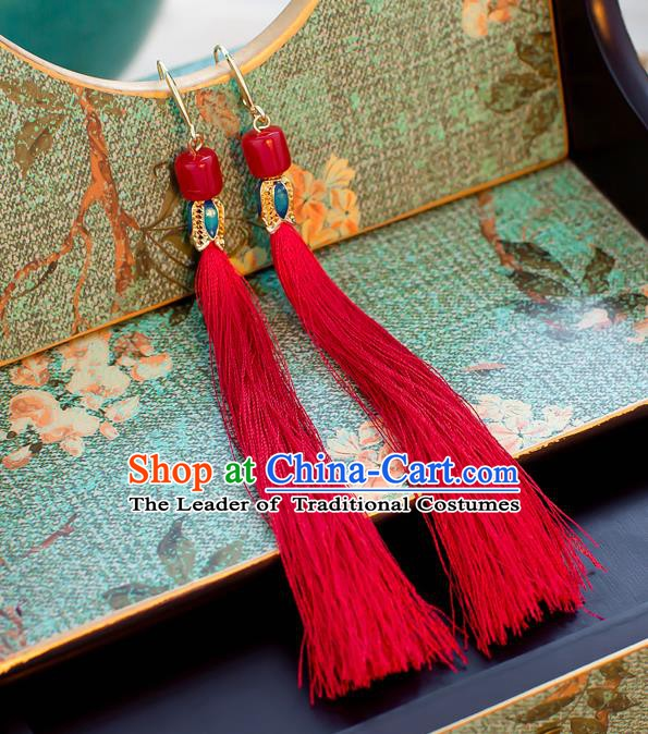 Handmade Classical Wedding Accessories Bride Ear Pendant Red Tassel Earrings for Women