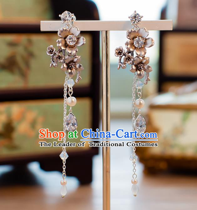 Handmade Classical Wedding Accessories Bride Ear Pendant Flowers Tassel Earrings for Women