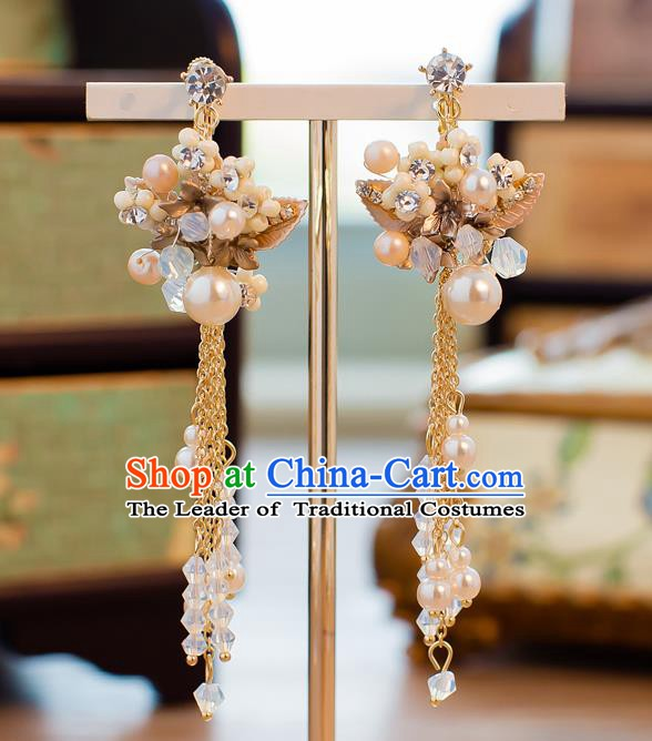 Handmade Classical Wedding Accessories Bride Ear Pendant Pearls Tassel Earrings for Women