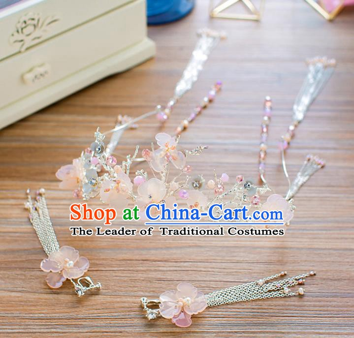 Handmade Classical Wedding Hair Accessories Bride Hair Crown and Earrings for Women