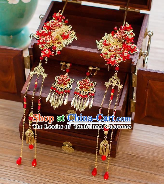 Chinese Handmade Classical Hair Accessories Ancient Palace Red Tassel Hairpins for Women