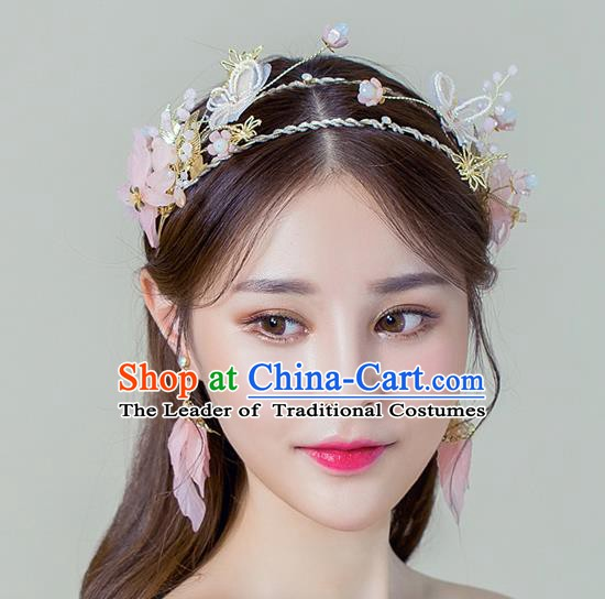 Handmade Classical Wedding Hair Accessories Bride Headwear Pink Flowers Hair Crown for Women