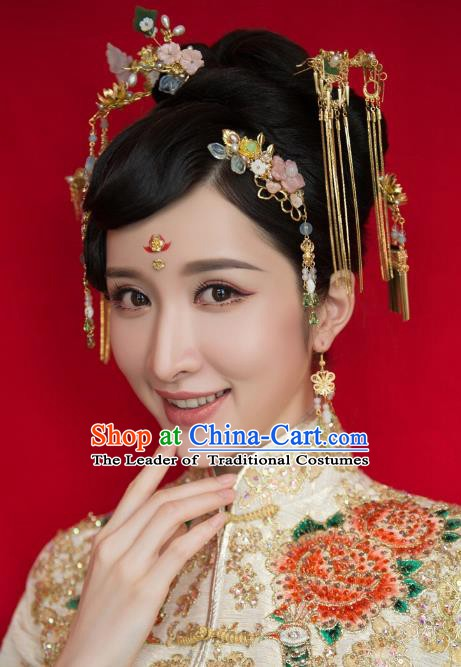 Chinese Handmade Classical Hair Accessories Ancient Palace Pink Flowers Hairpins for Women