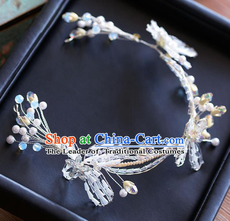 Handmade Classical Wedding Hair Accessories Bride Headwear Crystal Butterfly Hair Clasp for Women