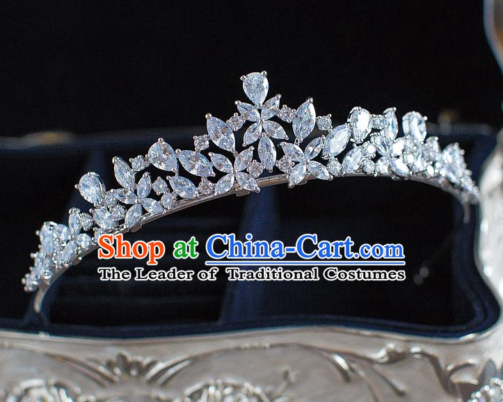 Handmade Classical Hair Accessories Bride Baroque Crystal Royal Crown Coronet Headwear for Women