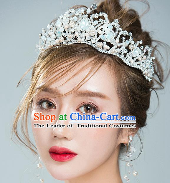 Handmade Classical Hair Accessories Bride Baroque Crystal Royal Crown Opal Coronet for Women