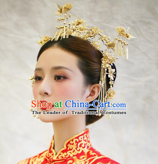 Chinese Handmade Classical Hair Accessories Ancient Palace Golden Phoenix Coronet Hairpins for Women