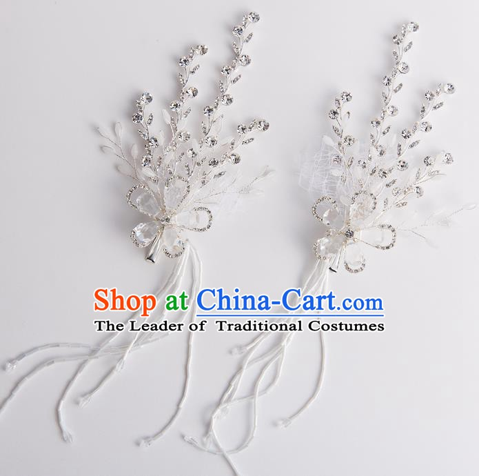 Handmade Classical Wedding Accessories Bride Tassel Crystal Earrings for Women