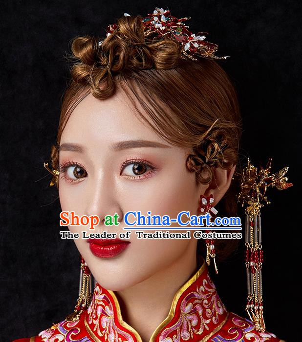Chinese Handmade Classical Hair Accessories Ancient Bride Wedding Tassel Step Shake Hairpins Complete Set for Women