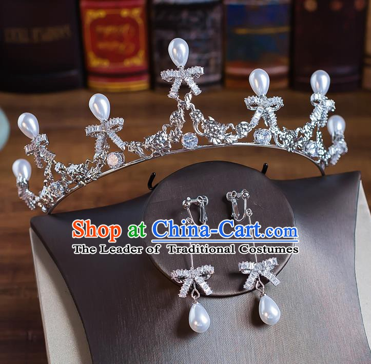 Handmade Classical Wedding Hair Accessories Bride Baroque Crystal Bowknot Royal Crown Hair Clasp for Women