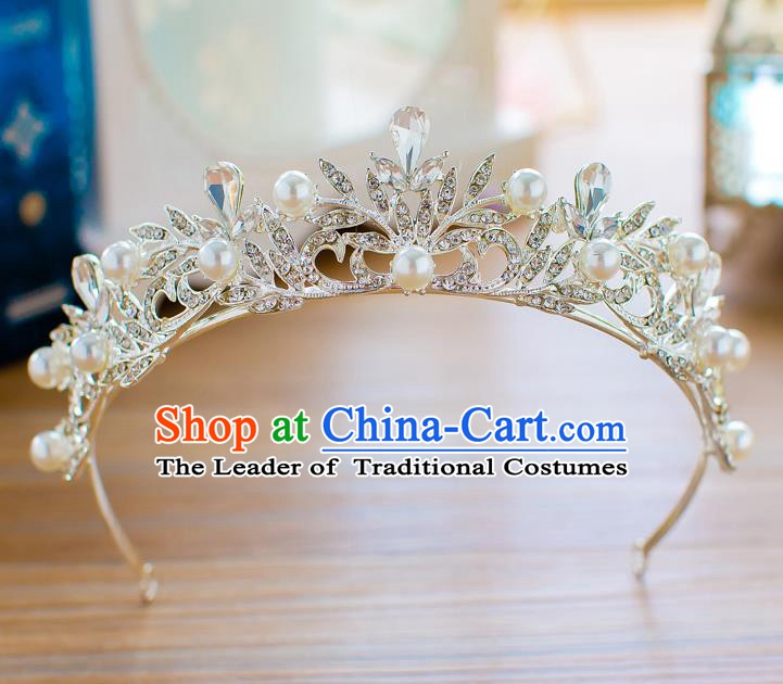 Handmade Classical Hair Accessories Baroque Crystal Royal Crown Princess Coronet for Women