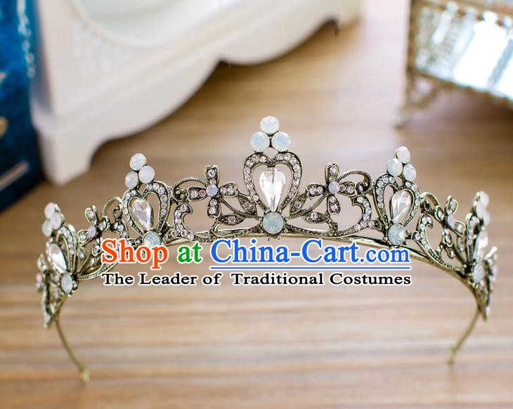 Handmade Classical Hair Accessories Baroque Crystal Royal Crown Princess Black Hair Clasp for Women