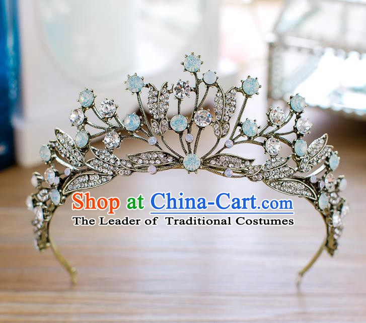 Handmade Classical Hair Accessories Baroque Retro Crystal Royal Crown Princess Black Hair Clasp for Women