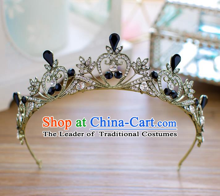 Handmade Classical Hair Accessories Baroque Black Crystal Royal Crown Princess Hair Clasp for Women