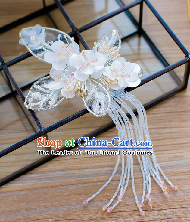 Handmade Classical Wedding Hair Accessories Bride Headwear Butterfly Tassel Hair Stick for Women
