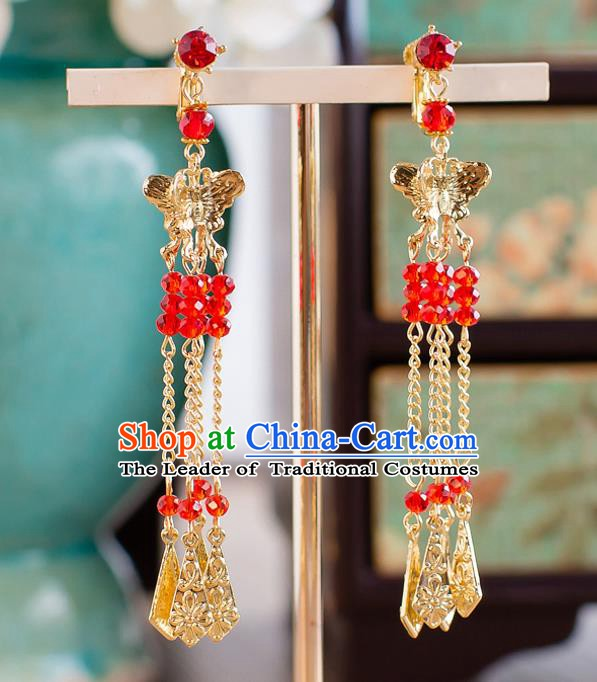 Handmade Classical Wedding Accessories Bride Golden Butterfly Tassel Earrings for Women
