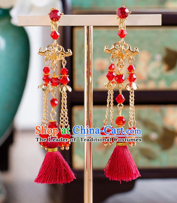Handmade Classical Wedding Accessories Bride Red Tassel Golden Earrings for Women