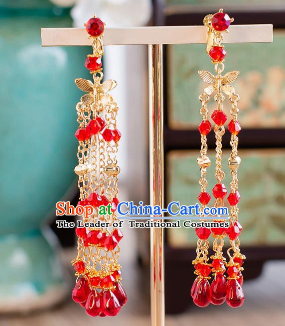 Handmade Classical Wedding Accessories Bride Red Beads Tassel Golden Earrings for Women