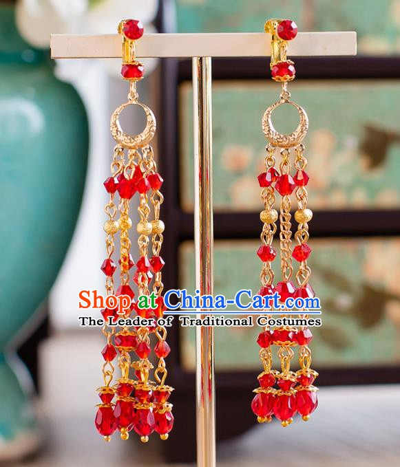 Handmade Classical Wedding Accessories Bride Red Beads Tassel Hanfu Earrings for Women