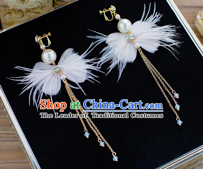 Handmade Classical Wedding Accessories Tassel Eardrop Bride Feather Bowknot Earrings for Women