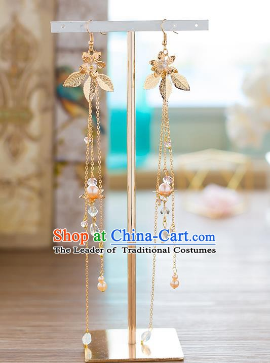 Handmade Classical Wedding Accessories Long Tassel Eardrop Bride Golden Flowers Earrings for Women