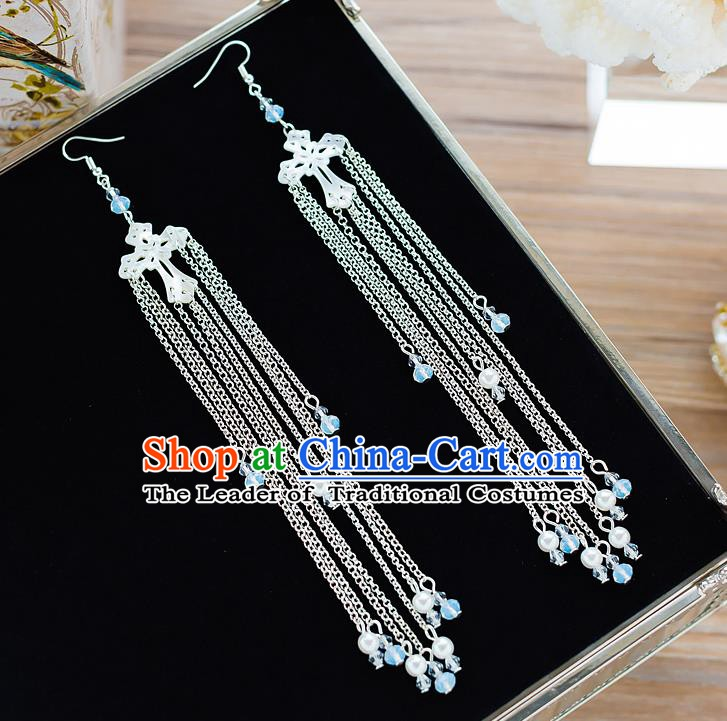 Handmade Classical Wedding Accessories Long Tassel Eardrop Bride Earrings for Women