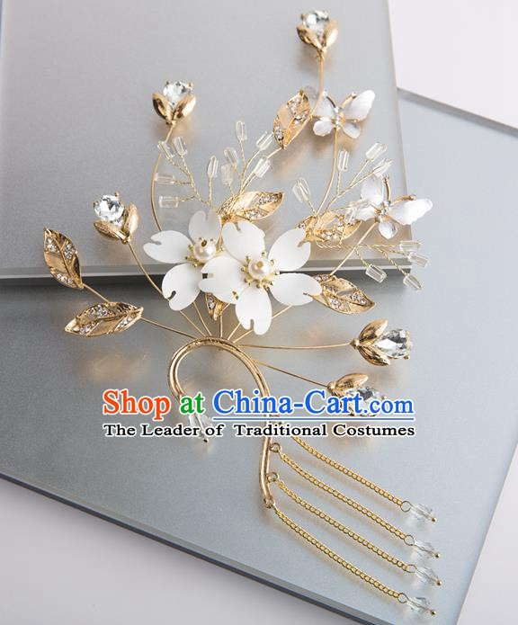 Handmade Classical Wedding Accessories Golden Tassel Eardrop Bride Earrings for Women