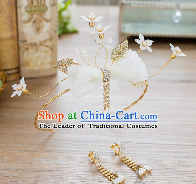 Handmade Classical Wedding Hair Accessories Bride Hair Clasp Bowknot Headband for Women