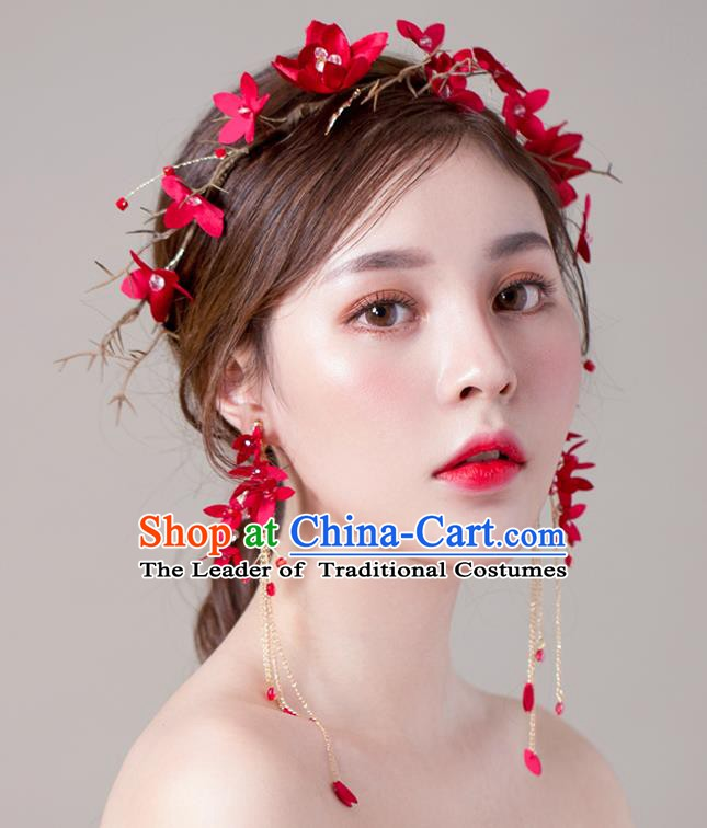 Handmade Classical Wedding Hair Accessories Bride Hair Clasp Red Headband for Women
