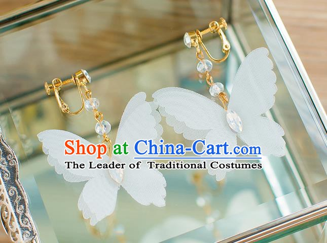 Handmade Classical Wedding Accessories Bride Silk Butterfly Earrings for Women