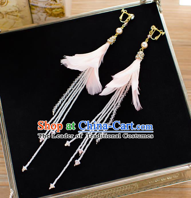 Handmade Classical Wedding Accessories Bride Pink Feather Tassel Earrings for Women
