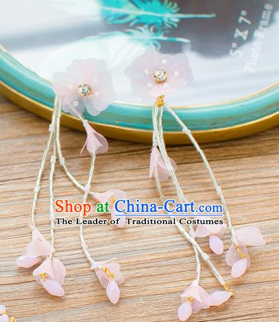 Handmade Classical Wedding Accessories Bride Pink Flowers Tassel Earrings for Women